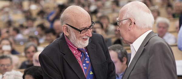 Peter Higgs and François Englert at CERN in 2012