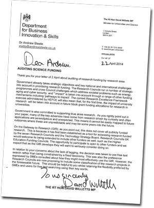 David Willetts letter: auditing science funding, April 22 2014